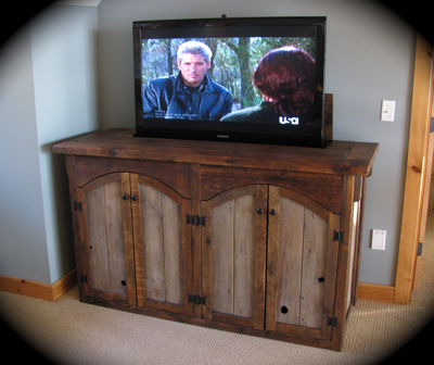 barn wood furniture, tv lift, tv cabinet